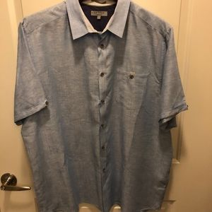 TED BAKER SHORT SLEEVE LINEN BUTTON DOWN SHIRT